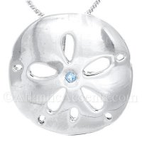 Sterling Silver Sand Dollar Pendant With Blue Topaz Stone