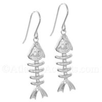 Sterling Silver Fish Bone Dangle Earrings with Clear CZ Eye