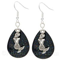 Mermaid Charm on a Black Sparkle Fishing Lure Dangle Earrings