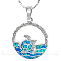 Sterling Silver Sea Turtle Swimming Pendant with Opal Inlay