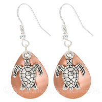 Sea Turtle Charm on a Copper Fishing Lure Dangle Earrings