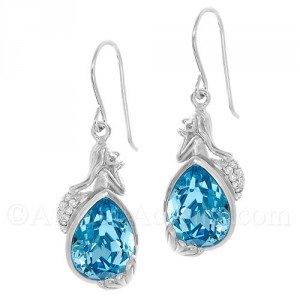 Sterling Silver Mermaid Dangle Earrings with Blue Swarovski Crystal