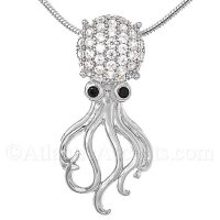 Sterling Silver Octopus Pendant with Crystal Head and Black CZ Eyes