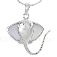 Sterling Silver Stingray Pendant with Mother of Pearll Wings