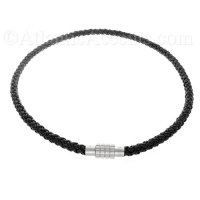 0730186 Mens Jewelry by AAGAARD Black Braided Leather Necklace