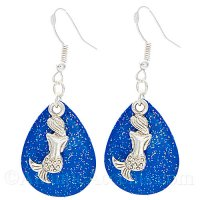 Mermaid Charm on a Blue Sparkle Fishing Lure Dangle Earrings