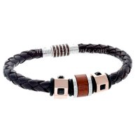 Mens Jewelry by AAGAARD Brown Leather Charm Bracelet / Bead Set - 1