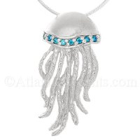 Sterling Silver Jellyfish Pendant with Blue CZ Crystals