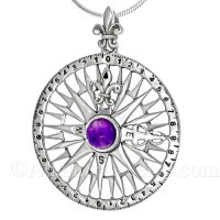 Sterling Silver Compass Rose Pendant with Amethyst