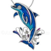Sterling Silver Splashing Dolphin Pendant with Blue Enamel & Crystals