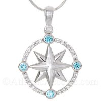 Sterling Silver Compass Rose Pendant with Blue and White CZ