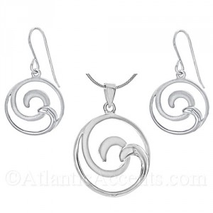 Sterling Silver 2-Tone Double Wave Necklace and Earrings Set