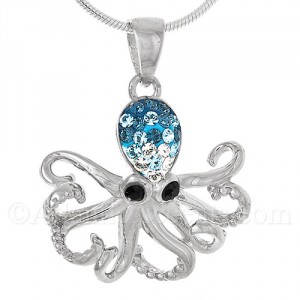 Sterling Silver Octopus Pendant with Swarovski Inlay and Black Eyes