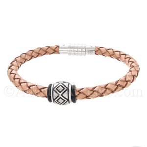 Mens Jewelry by AAGAARD Braided Leather Bracelet / Link Set - 39