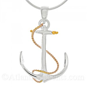 Sterling Silver 3-Tone Ships Anchor Pendant with Rose & Yellow Gold