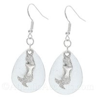 Mermaid Charm on a White Sparkle Fishing Lure Dangle Earrings