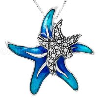 Sterling Silver Double Starfish Pendant with Blue Enamel and Crystals