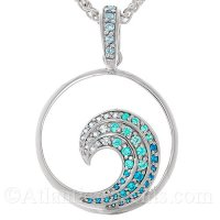 Sterling Silver Ocean Wave Pendant with Blue Crystals