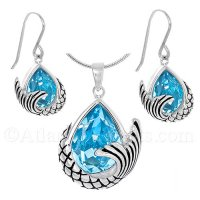 Mermaid Tail Necklace & Earrings Set with Ocean Blue Swarovski Crystal