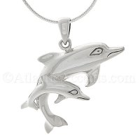 Sterling Silver Mother Dolphin and Calf Pendant