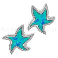 Sterling Silver Starfish Post Earrings with Opal Inlay