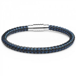 0710224 - Mens Jewelry by AAGAARD Black Leather / Blue Nylon Bracelet