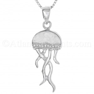 Sterling Silver Jelly Fish Necklace with white Enamel Inlay