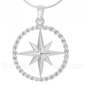 Sterling Silver Compass Rose Pendant with Rope Outline