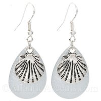 Scallop Shell Charm on a White Sparkle Fishing Lure Dangle Earrings