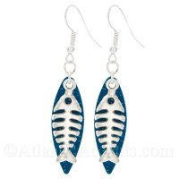 Bone Fish Charm on a Blue Sparkle Small Fishing Lure Dangle Earrings