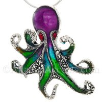 Sterling Silver Large Colorful Enameled Octopus Pendant with Crystals