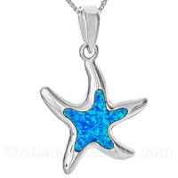 Sterling Silver Dancing Starfish Pendant with Opal Inlay