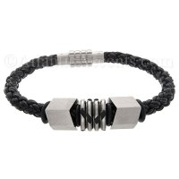 Mens Jewelry by AAGAARD Black Braided Leather Bracelet / Bead Set - 6