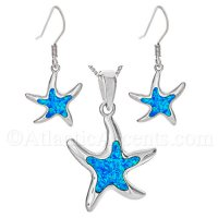 Sterling Silver Dancing Starfish Necklace & Earrings Set w Opal Inlay