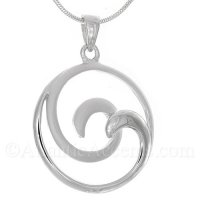 Sterling Silver 2-Tone Double Wave Pendant