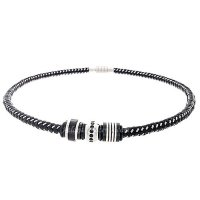 Mens Jewelry by AAGAARD Black Braided Steel Bead Necklace Set - 5