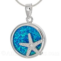 Sterling Silver Starfish Circle Pendant with Opal Inlay