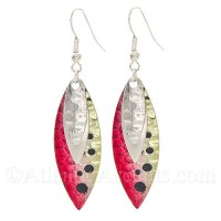 Dual Chrome Lures & Bright Salmon Colored Fishing Lure Dangle Earrings