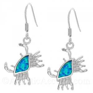 Sterling Silver Crab Dangle Earrings with Opal Inlay
