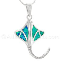 Sterling Silver Stingray Pendant With Synthetic Opal Inlay