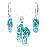 Sterling Silver Pair of Flip Flops Pendant & Earrings Set - Crystals
