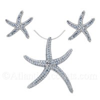 Sterling Silver Starfish Necklace and Earrings Set with Blue CZ Inlay