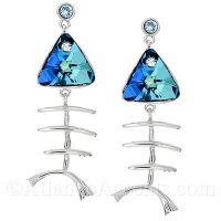Sterling Silver Fish Bone Post Earrings with Blue Swarovski Stone