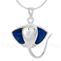 Sterling Silver Stingray Pendant with Blue Paua Shell Wings