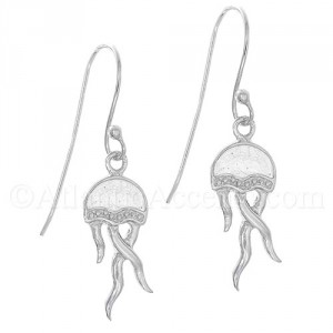 Sterling Silver Jelly Fish Dangle Earrings with White Enamel Inlay