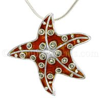 Sterling Silver Starfish Pendant with Orange Enamel & Crystals