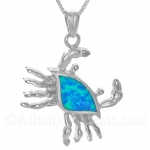 Sterling Silver Crab Pendant with Blue Opal Inlay