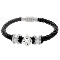 Mens Jewelry by AAGAARD Black Braided Charm Bracelet / Bead Set - 13