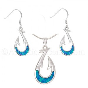 Sterling Silver Fish Hook Necklace and Earrings Set with Opal Inlay