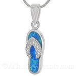 Sterling Silver Flip Flop Pendant with Opal Inlay